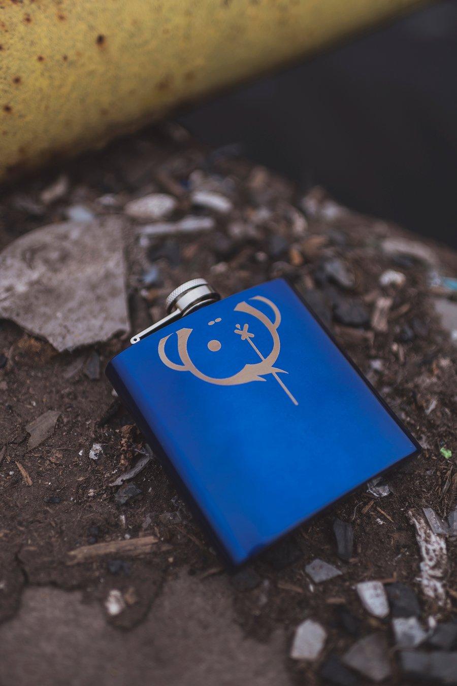 Image of Monkey Climber Logo (facedown) Hip Flask I Navy Blue (very ltd!)
