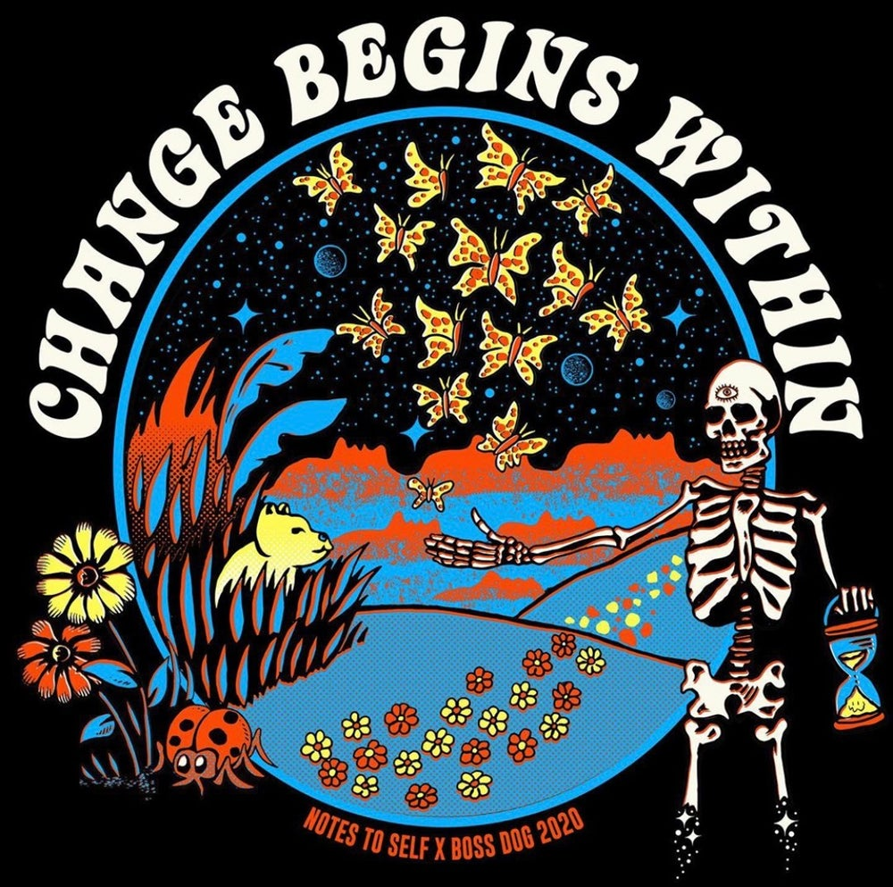 """Image of """"CHANGE BEGINS WITHIN"""" BOSS DOG X NTS COLLAB T-SHIRT"""