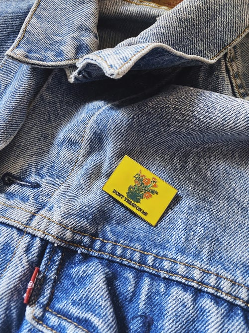 Image of DONT TREAD ON ME California Poppies Pin