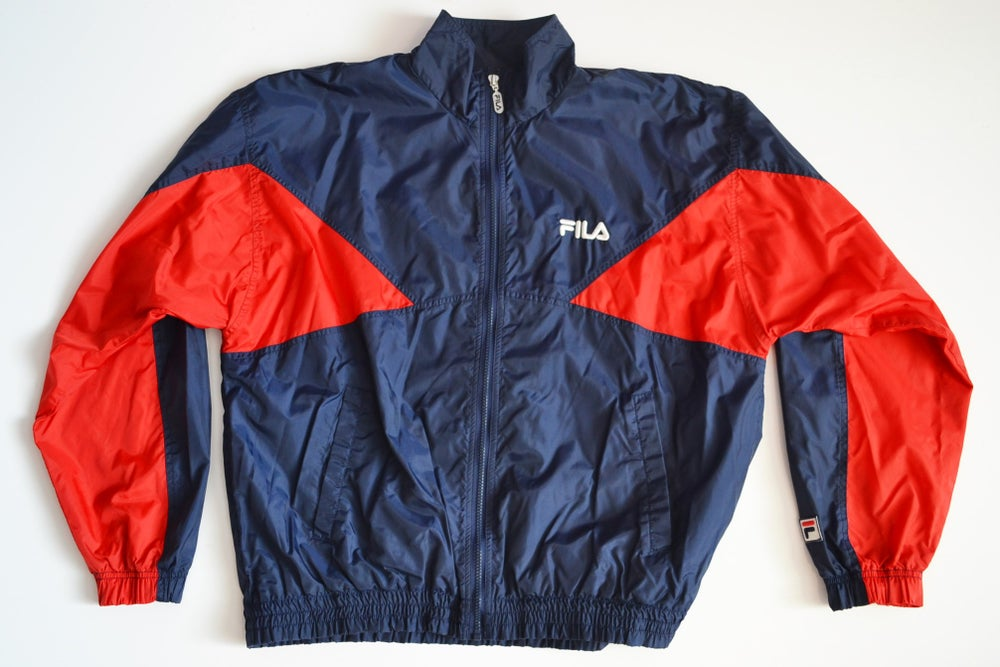 Image of Vintage 1990's FILA Navy & Red Windbreaker Jacket Sz.L