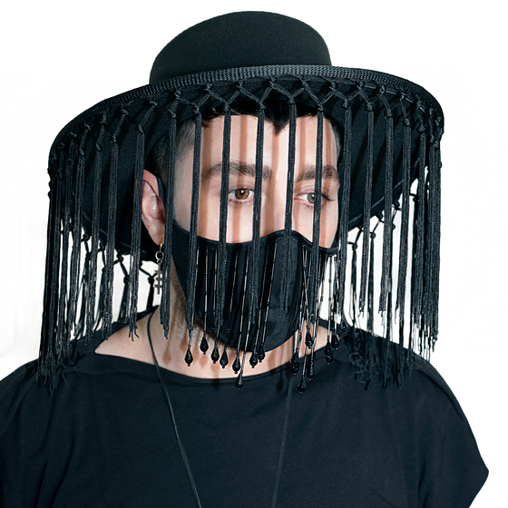 Image of  Long knotted fringe pilgrim hat in black gypsy chic fancy wide brim hat summer gothic