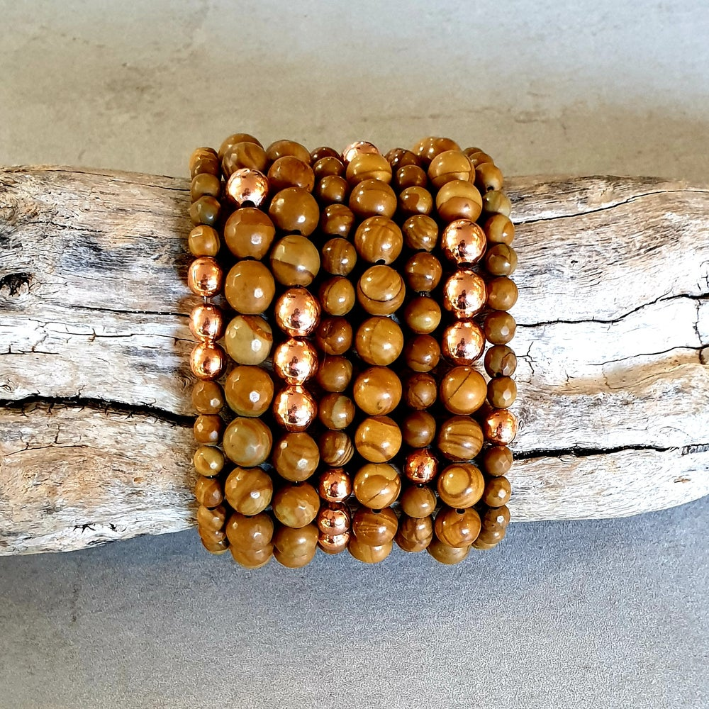 Image of WOOD GRAIN JASPER & COPPER BRACELET - 6mm & 8mm bead sizes