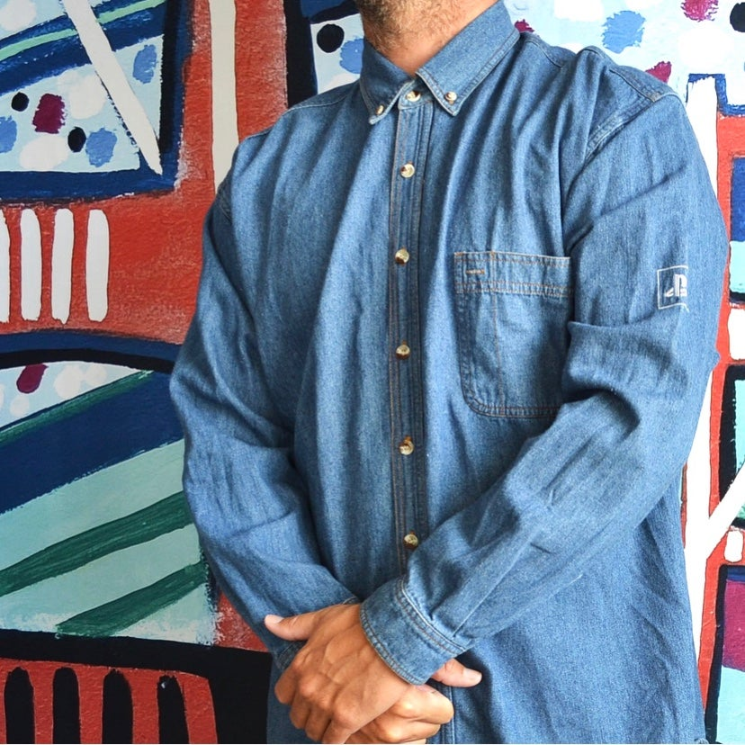 Image of Vintage 2000 SONY Playstation 2 Denim Button Up Shirt Sz.XL