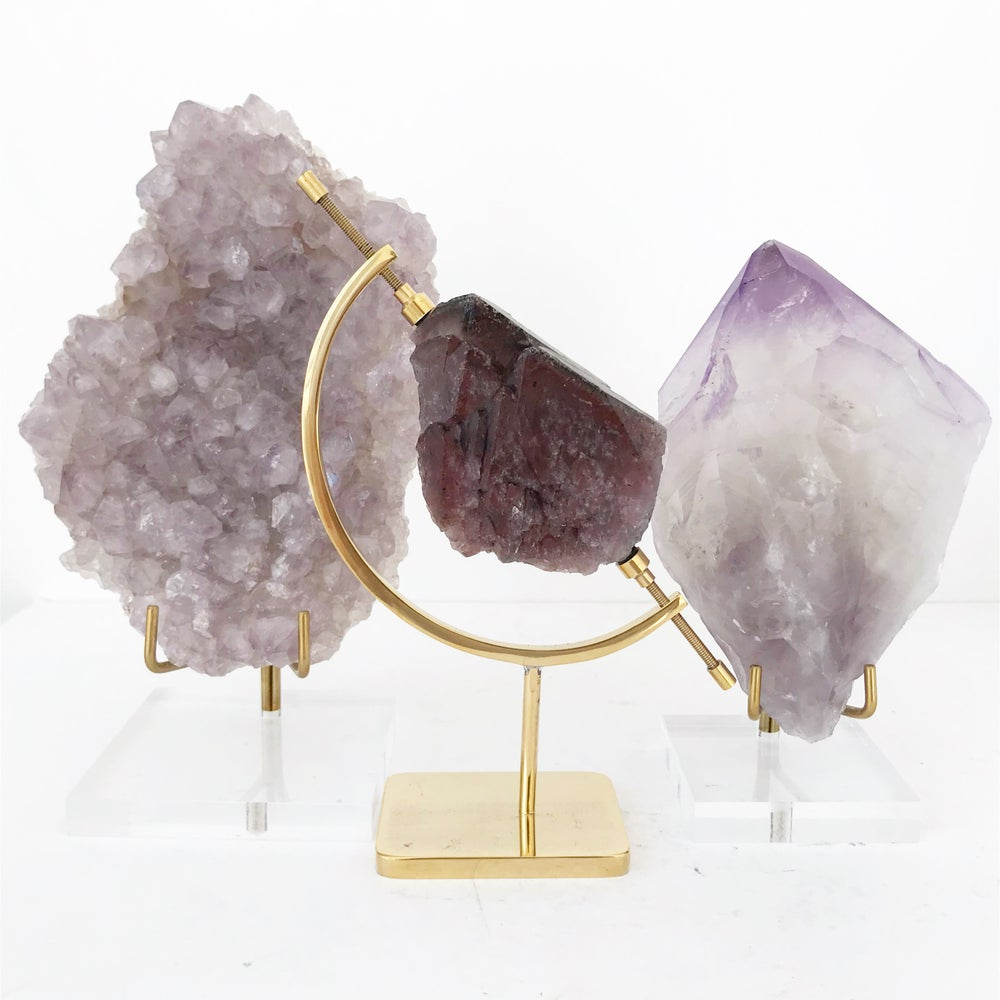 Image of Amethyst no.65 + Brass Arc Stand