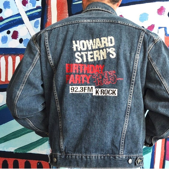 Image of Vintage 1995 Guess Jeans Howard Stern's Birthday Party Denim Jacket Sz.L