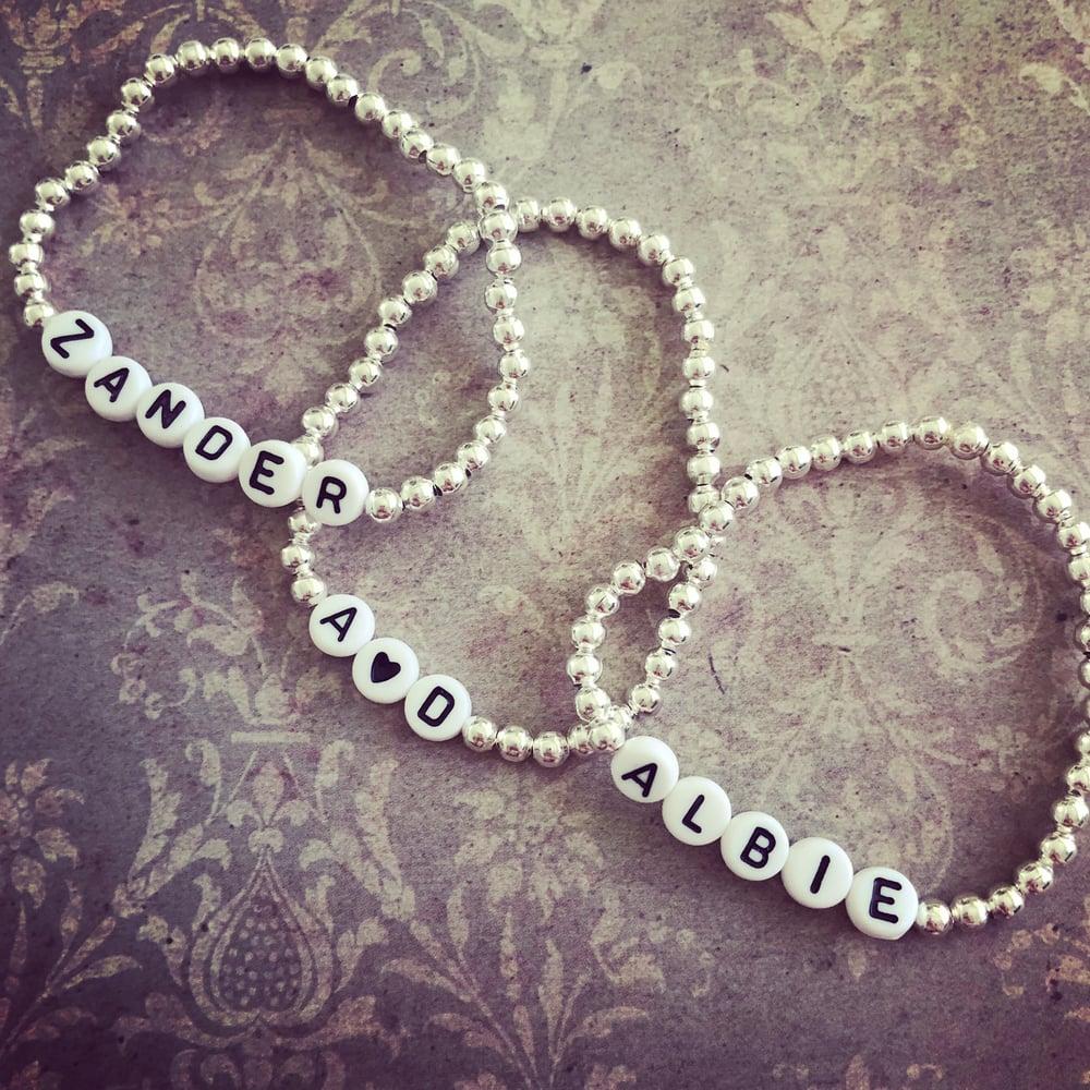 Image of Personalised Silver Bead Bracelet