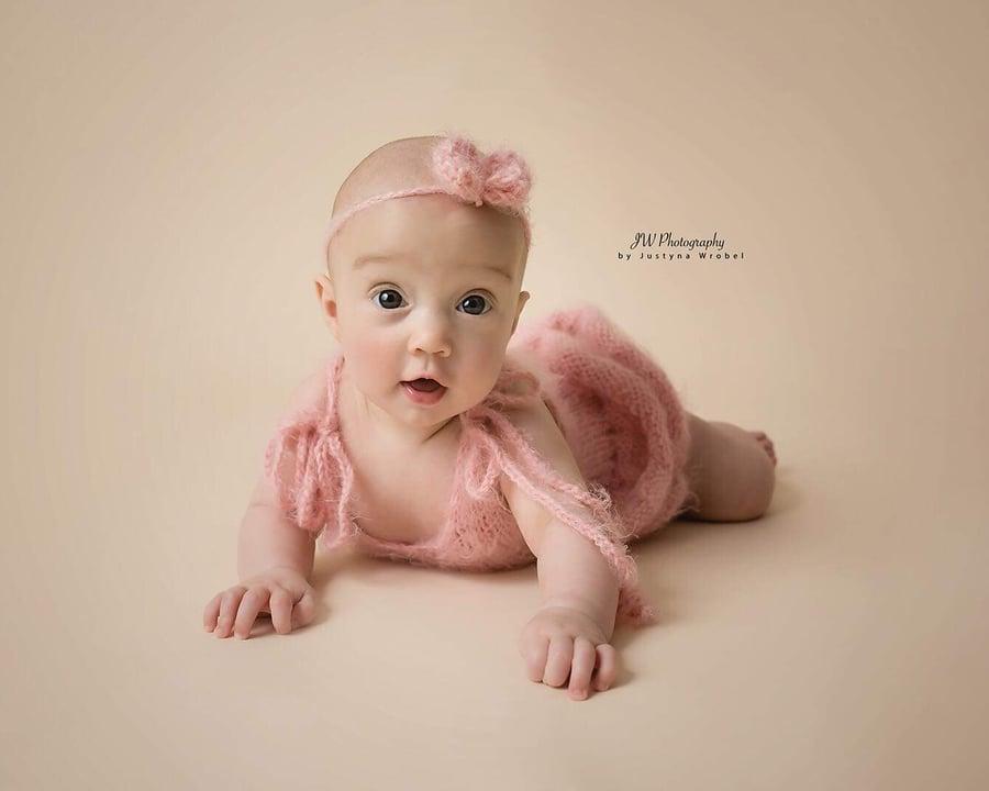 Image of Fluffy dress and headband. Newborn, sitter size