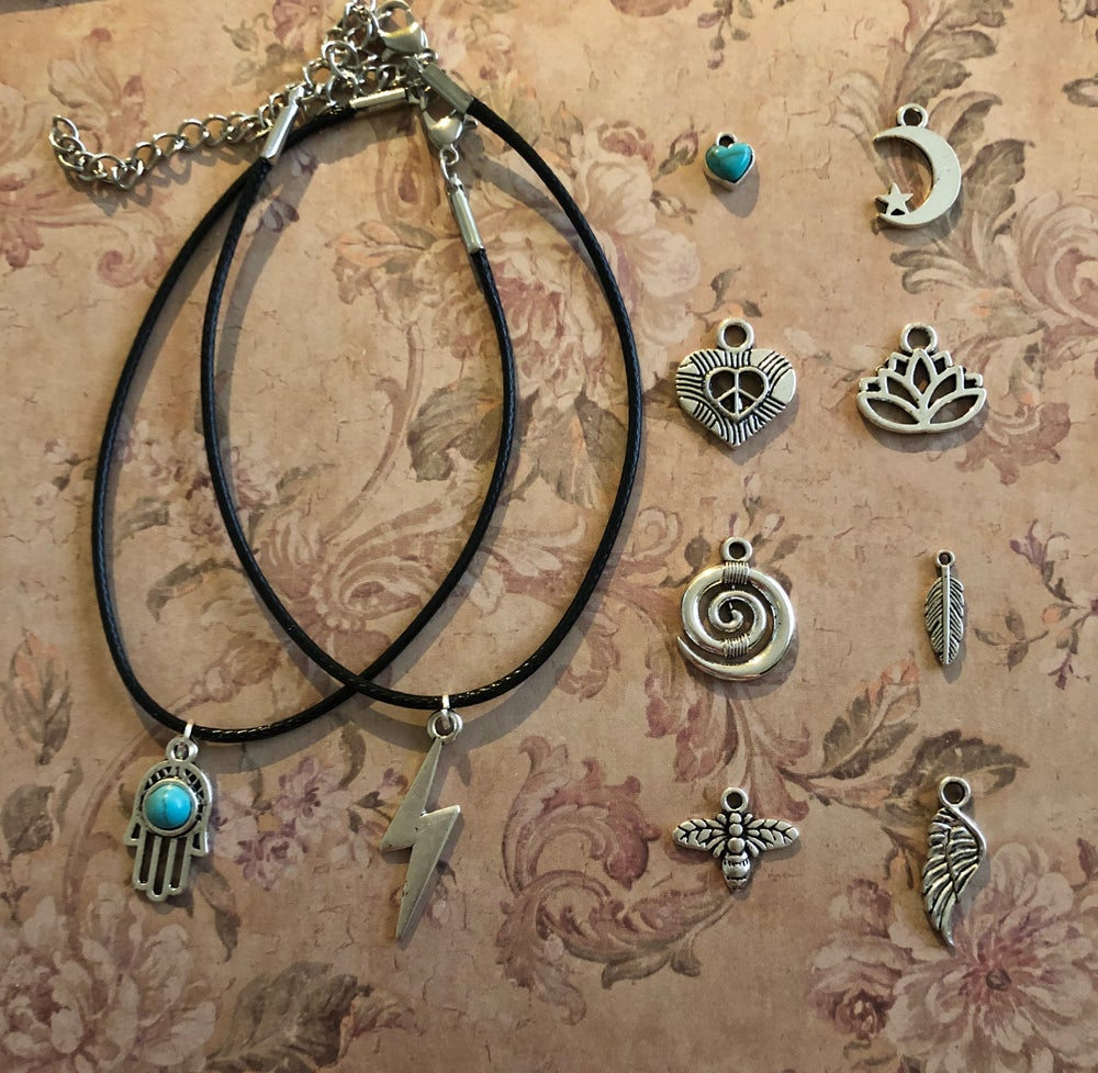 Image of Black Charm Anklet - 10 charms to pick from