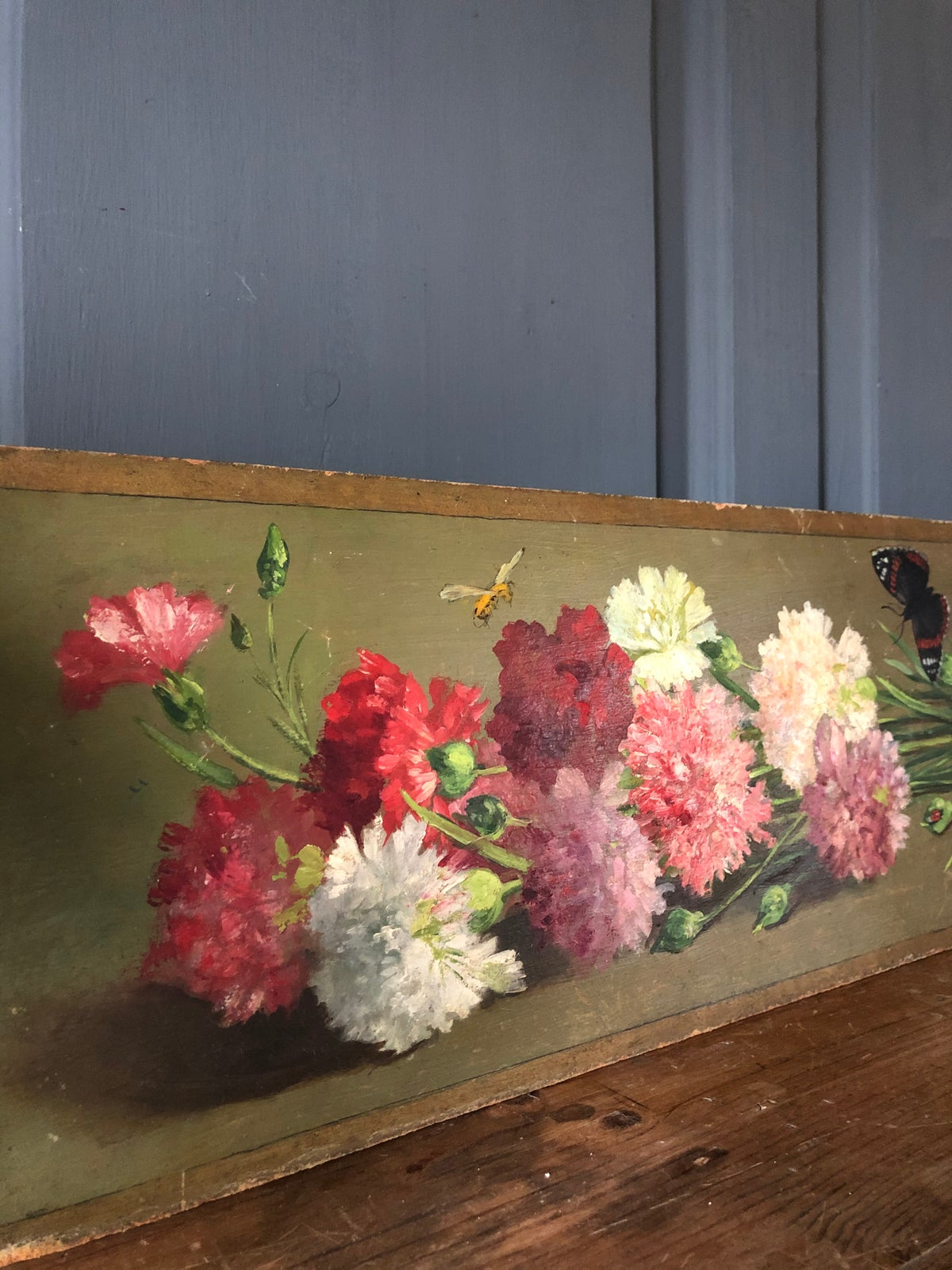 Image of French oil on board of carnations