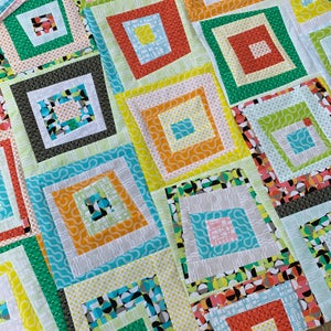 Modern Logs Quilt Kit: Pattern + Fabric: Select Crib, Throw, Queen Size