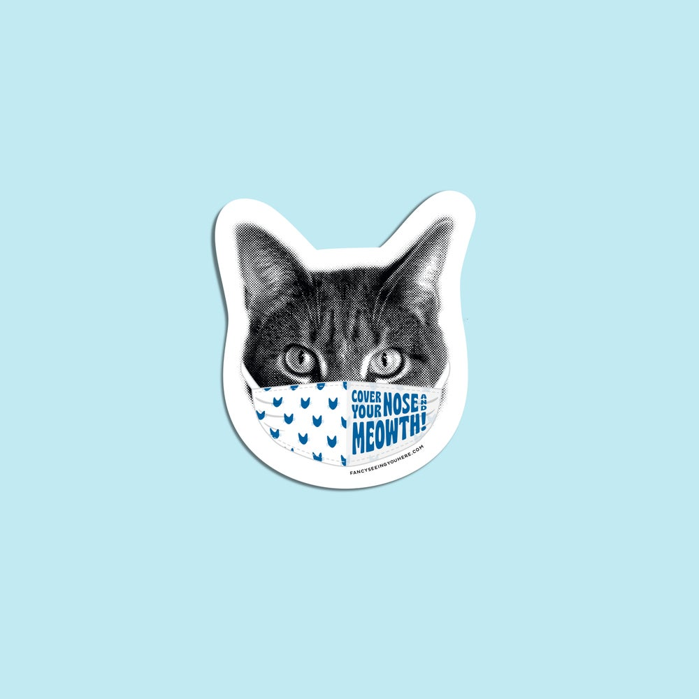 Image of cat face mask sticker - face mask sticker - cat pun -quarantine cat decal