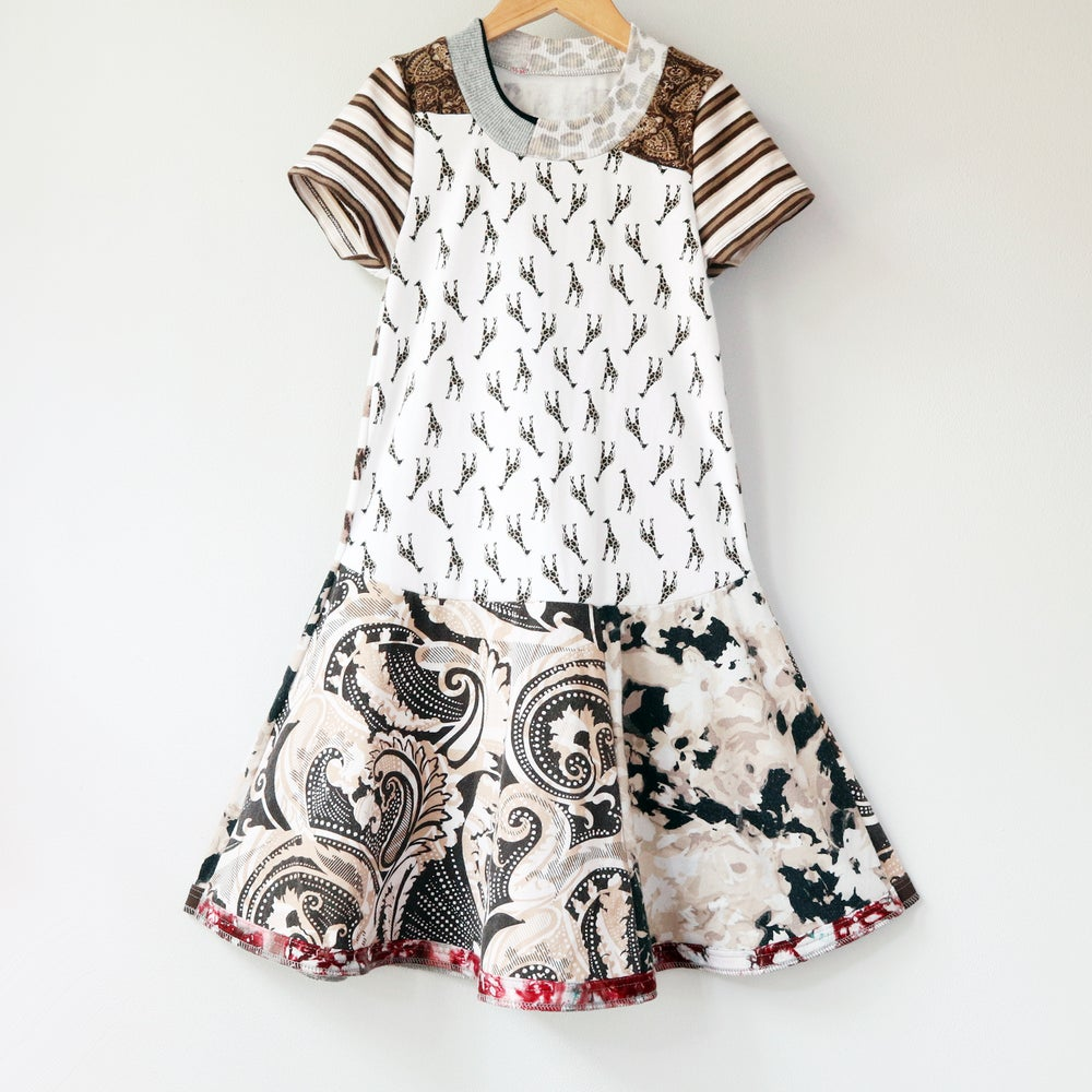 Image of giraffe paisley 7/8 stripe short sleeve twirl twirly dress courtneycourtney brown white safari