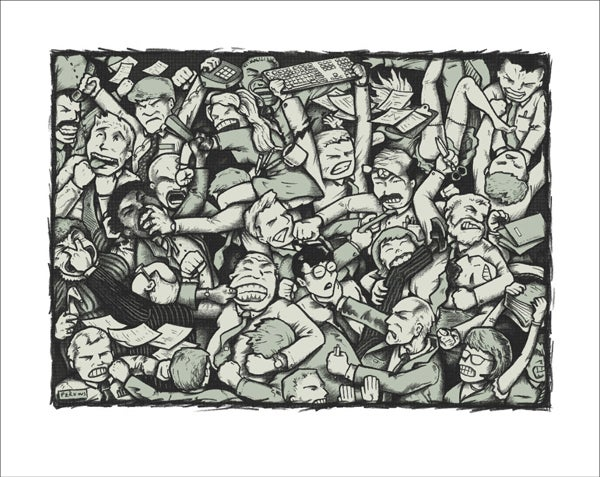 """Image of """"Bad Day At The Office"""" limited edition art print"""
