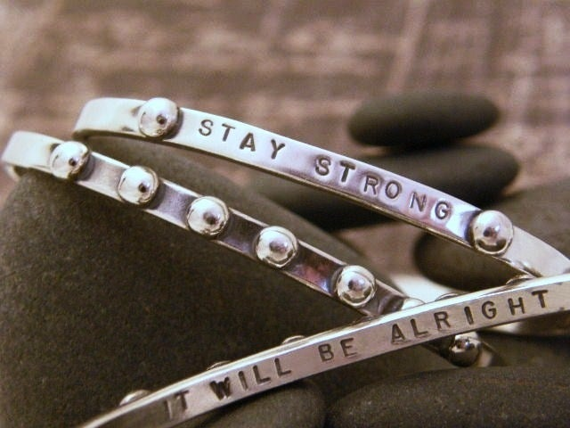 "Image of ""It will be Alright""  (Bumpy Road) Sterling Bracelet"