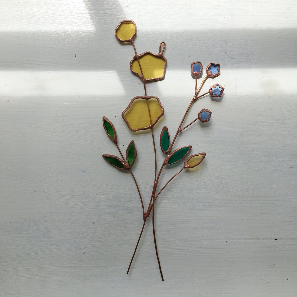 Image of Yellow Flowers and Forget-Me-Not Posie