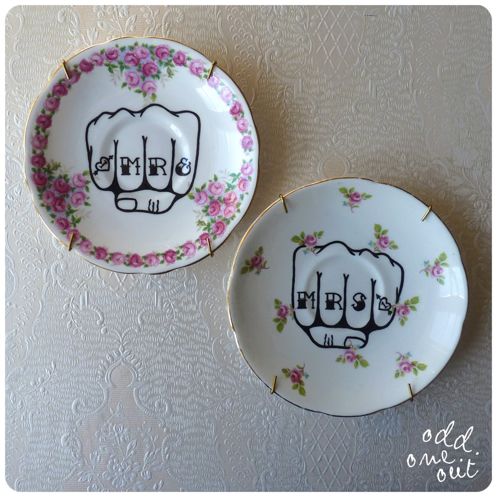 Image of Mr & Mrs Knuckle Tattoo - Hand Painted Vintage Plates
