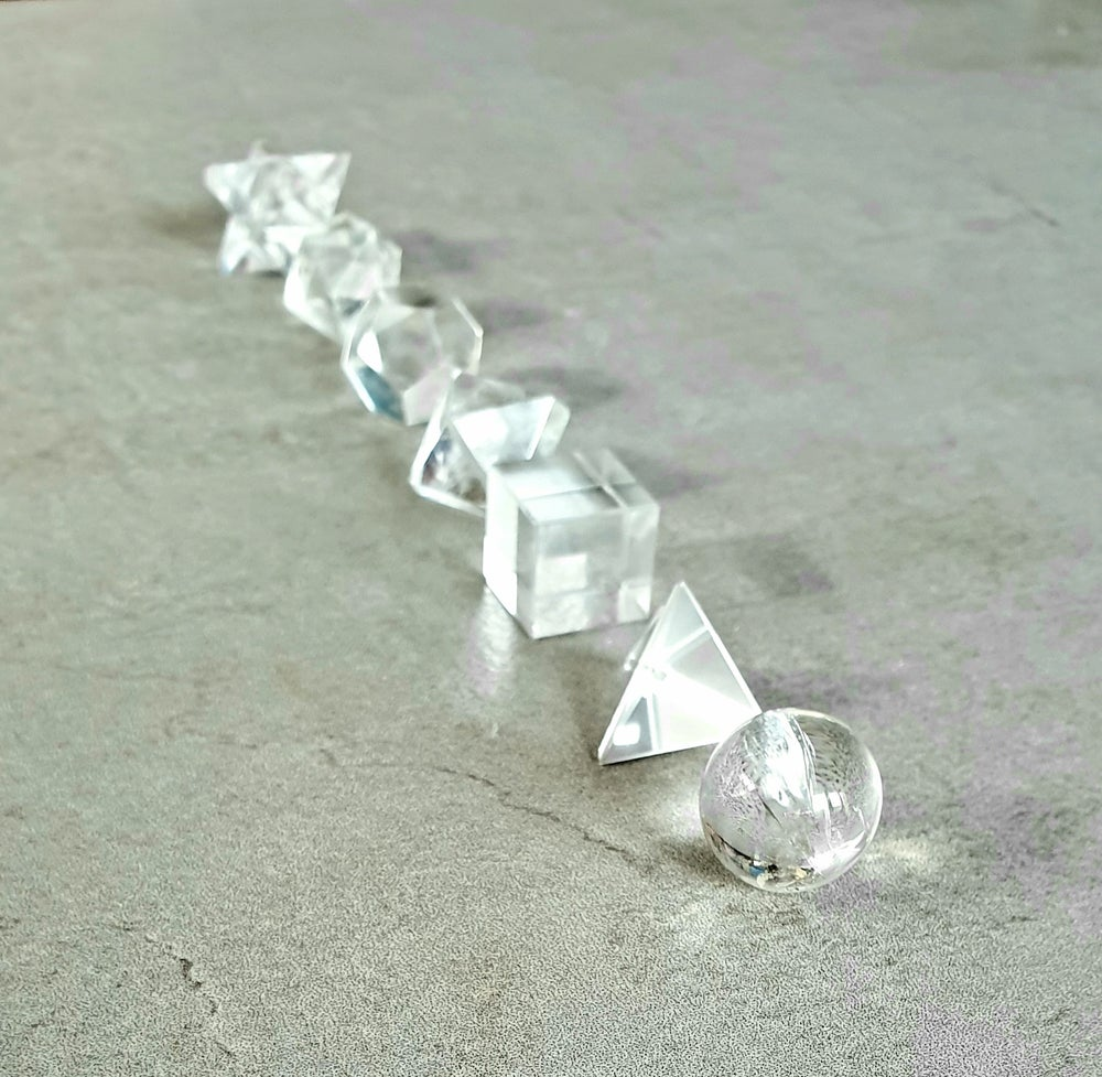 Image of CLEAR QUARTZ - 7 Piece Platonic Solids Sacred Geometry Set