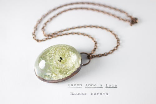 Image of Queen Anne's Lace (Daucus carota) - Copper Plated Necklace #1