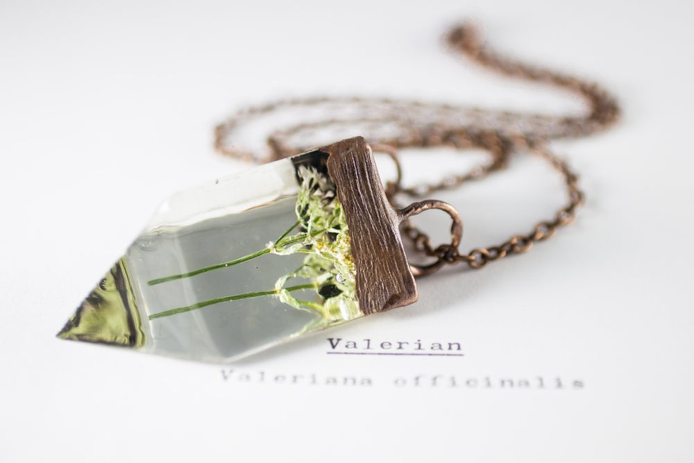 Image of Valerian (Valeriana officinalis) - Small Copper Prism Necklace #4
