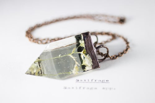 Image of Saxifrage (Saxifraga) - Small Copper Prism Necklace #1