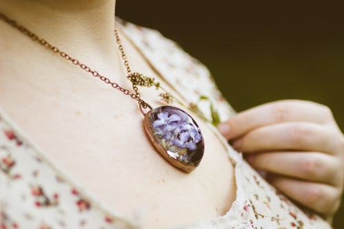 Image of Lilac (Syringa vulgaris) - Copper Plated Necklace #7
