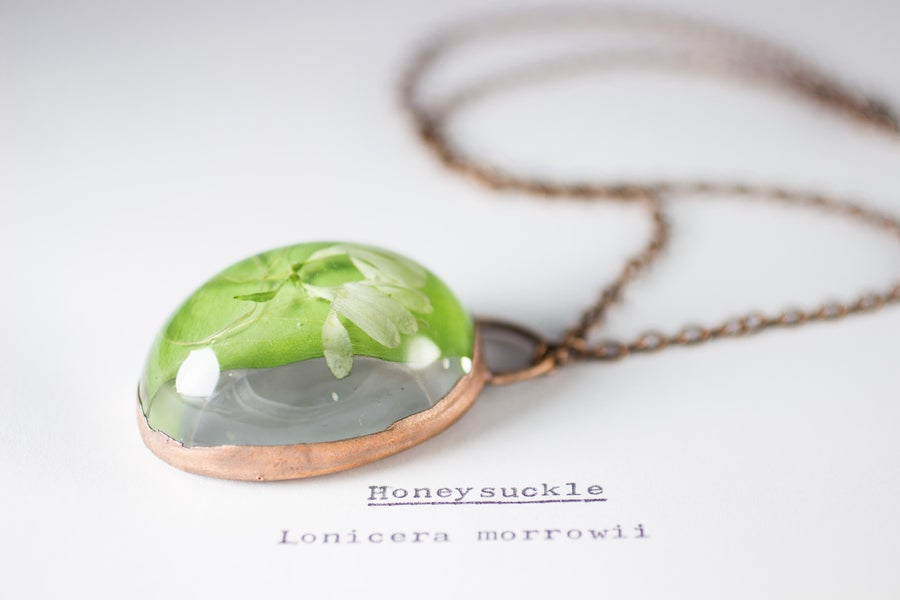 Image of Honeysuckle (Lonicera morrowii) - Copper Plated Necklace #1