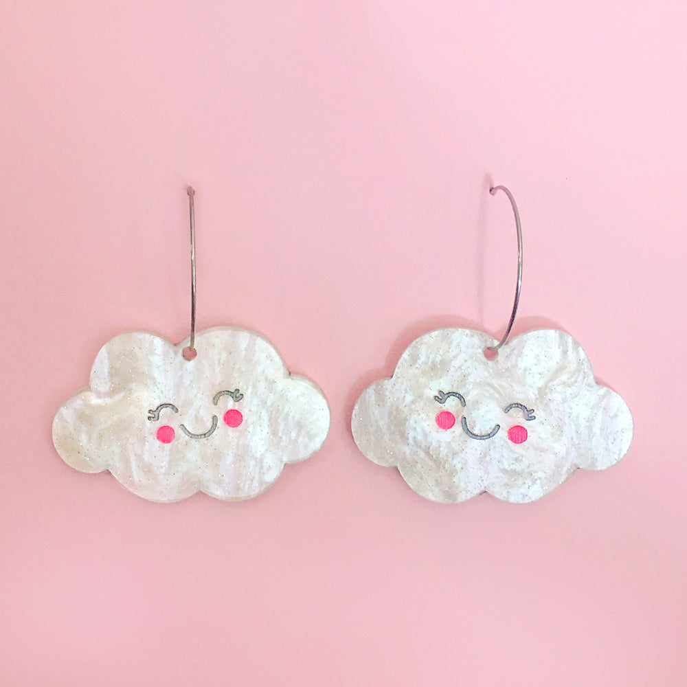 Image of Kawaii Cloud Hoops (Pearl)