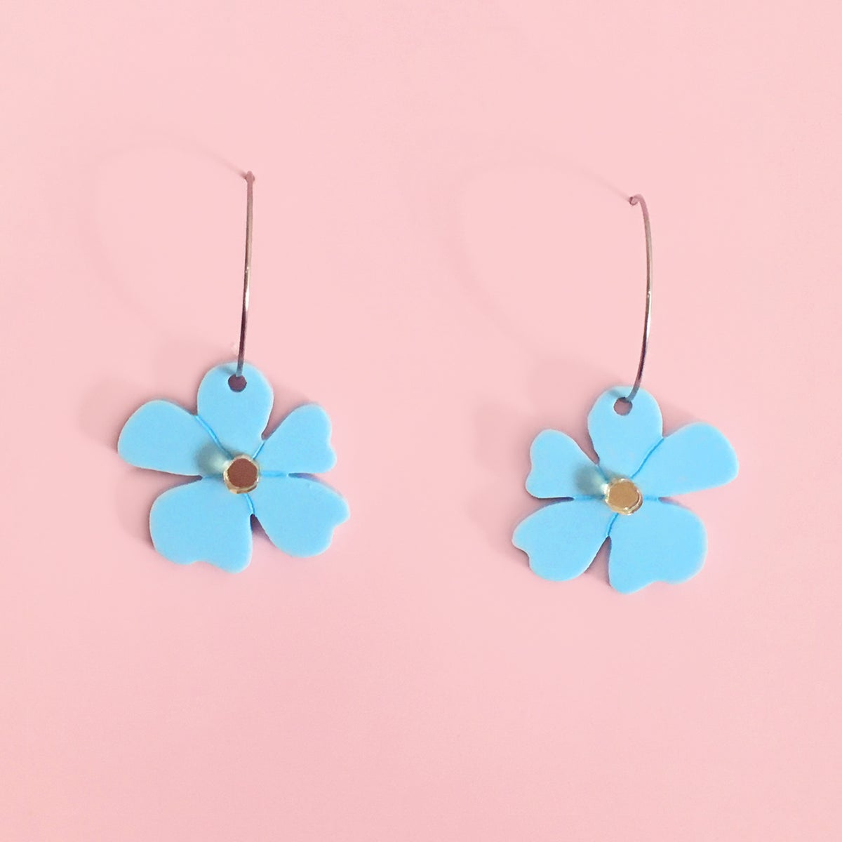Image of Mini Blossom Hoops (Baby-Blue/Gold)