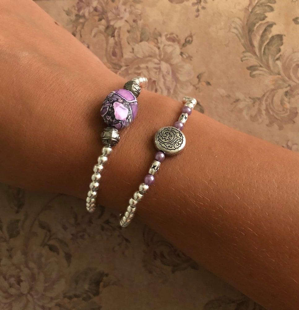 Image of Stone or circle spacer bead bracelets