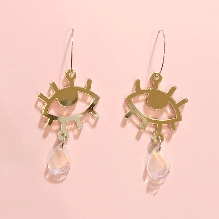 Image of Cry Baby Hoops (Gold/Holo)