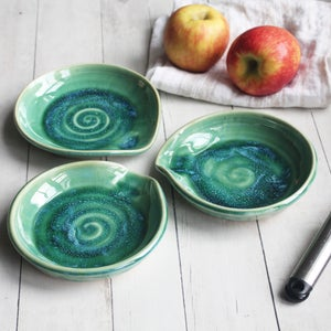 Image of Crackle Green Spoon Rest, Large Utensil Dish, Stoneware Pottery, Made in USA