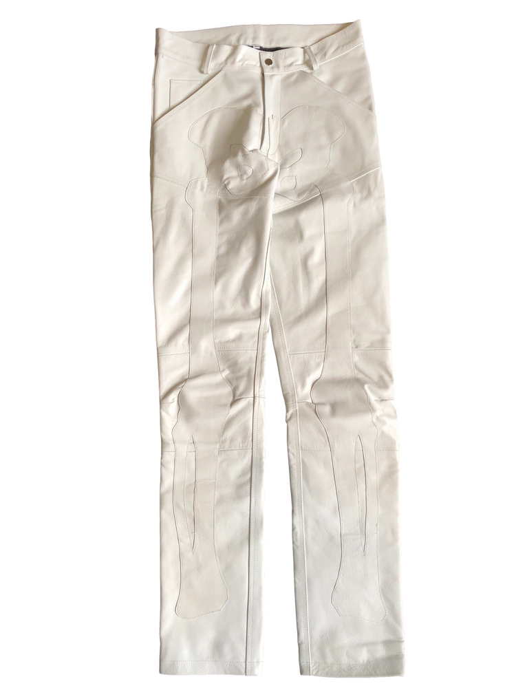 Image of ANGEL WHITE BIKER BONES LEATHER PANTS