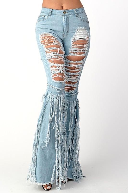 Image of Denim Fringe Bell Bottom Pants (Light)