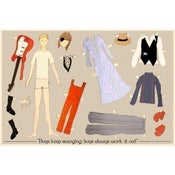 Image of David Bowie paper doll screen print by Claudia Varosio