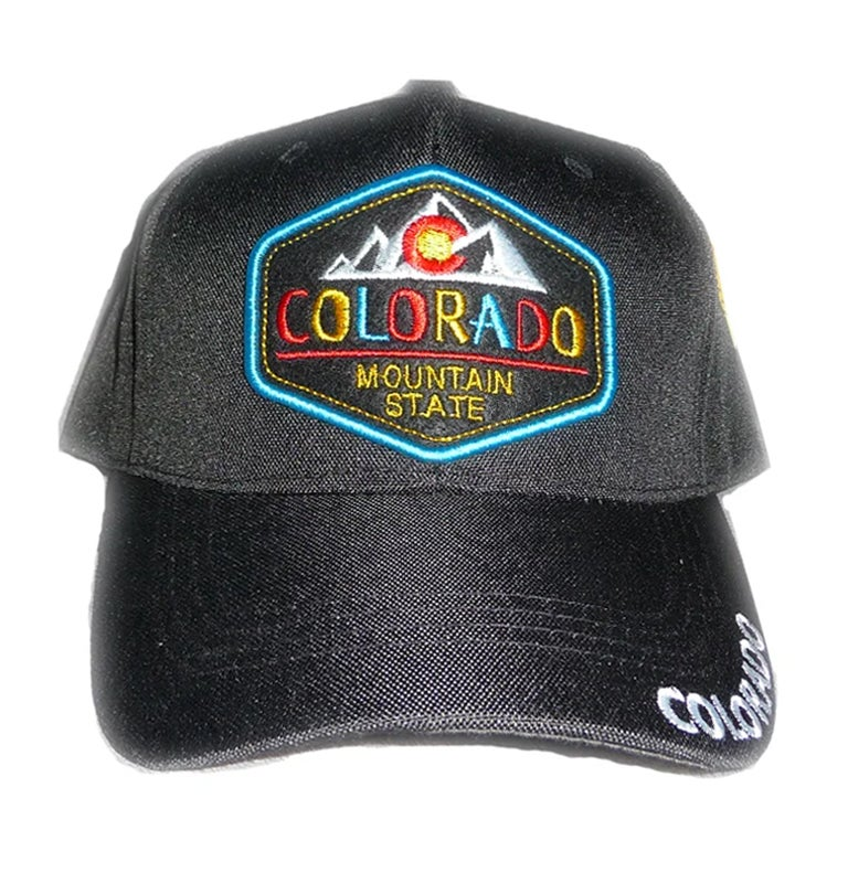 Image of COLORADO STATE BLACK HAT COLORFUL EMBROIDERED FRONT VELCO STRAPBACK