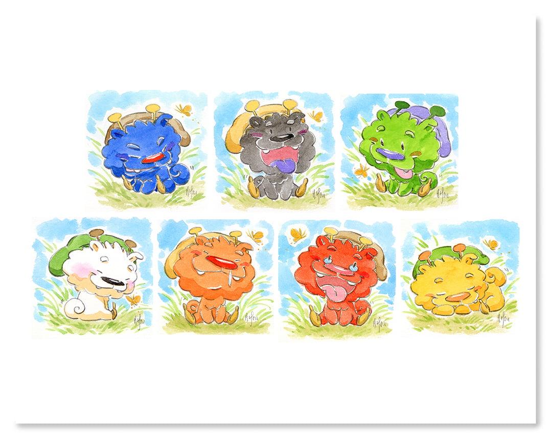 """7 Dwarf Pups - 11 x 14"""" Print"""