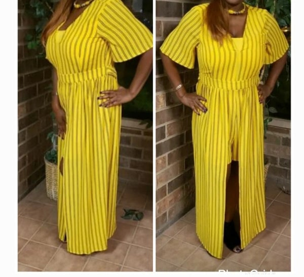 Image of Plus size pin stripped romper
