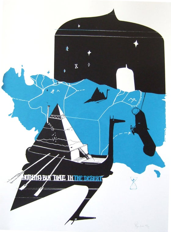 """Image of Kaione screen print """"nothing but time in the desert"""""""