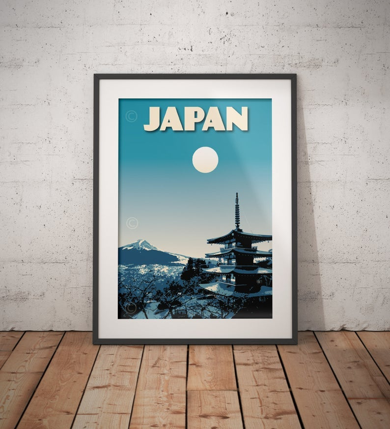 Image of Japan Print | Vintage poster Japan Mt. Fuji | Pagoda Chureito | Travel Poster | Gift | Night blue