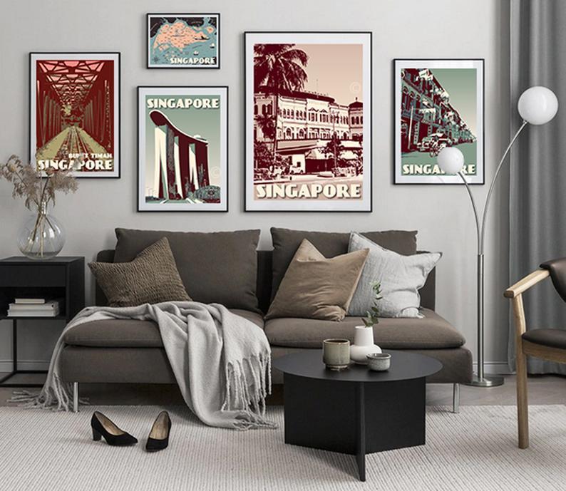 Image of Singapore Print Set | Set of 5 Prints | Raffles Hotel | Singapore Map | Bukit Timah Marina Bay Sands