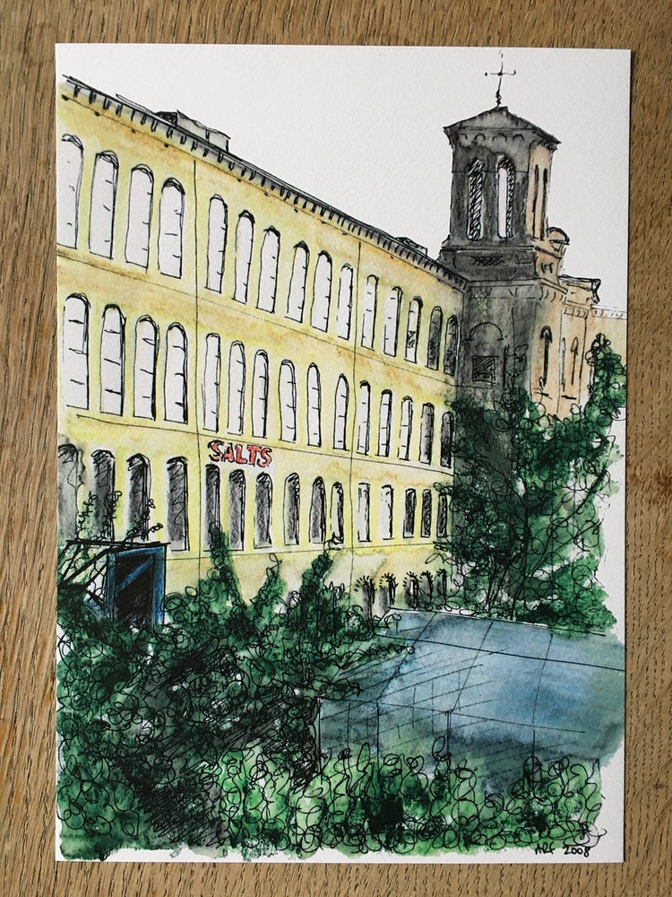Image of Salts Mill from the allotments - A4 print