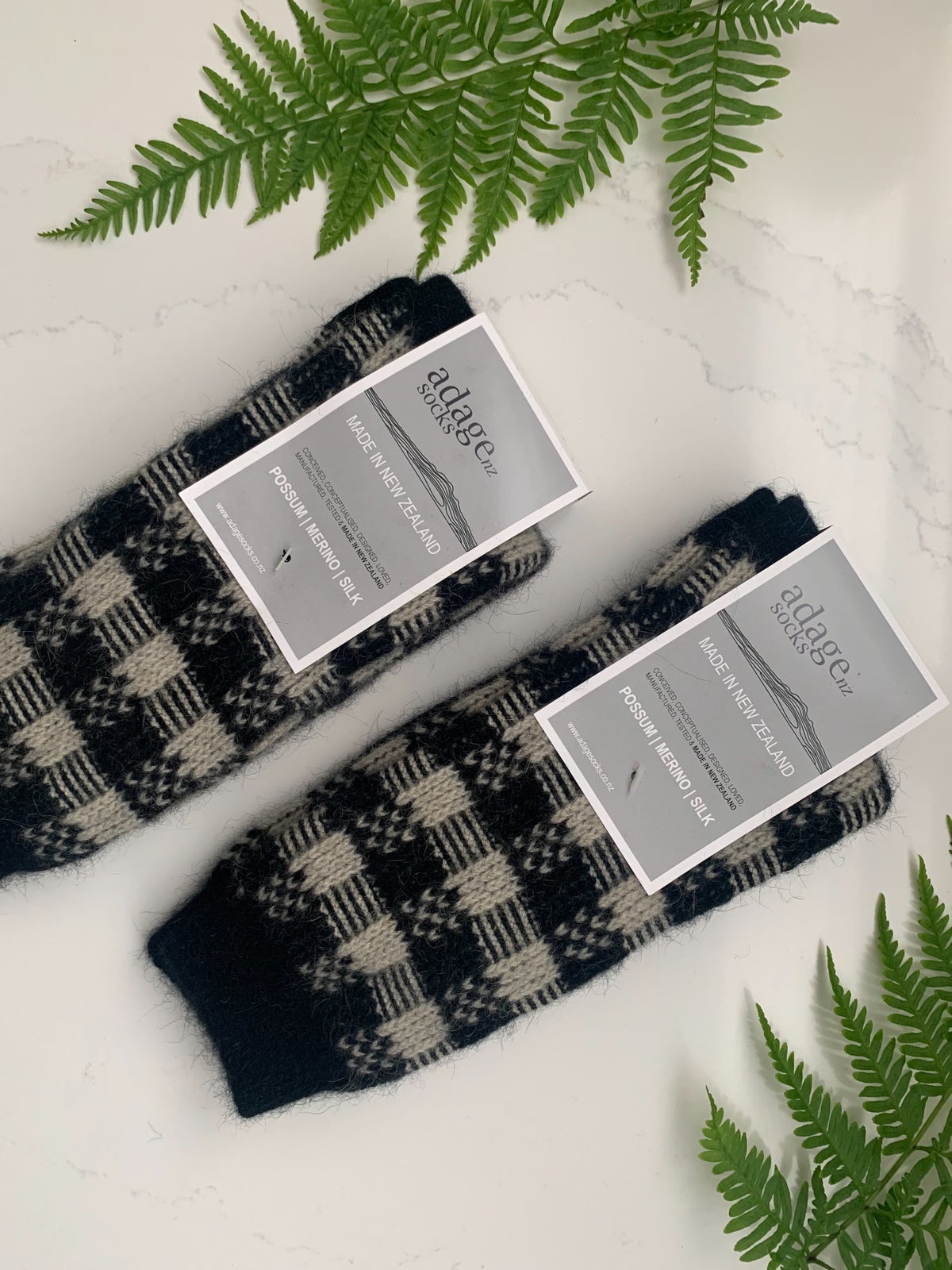 Image of Luxury Possum Socks - New Colours! - Black & Ivory