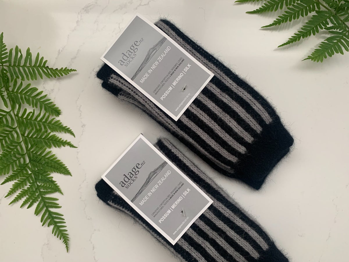 Image of Buy NZ Made Day Special - Luxury Possum Socks  - Dove Grey & Black Stripes