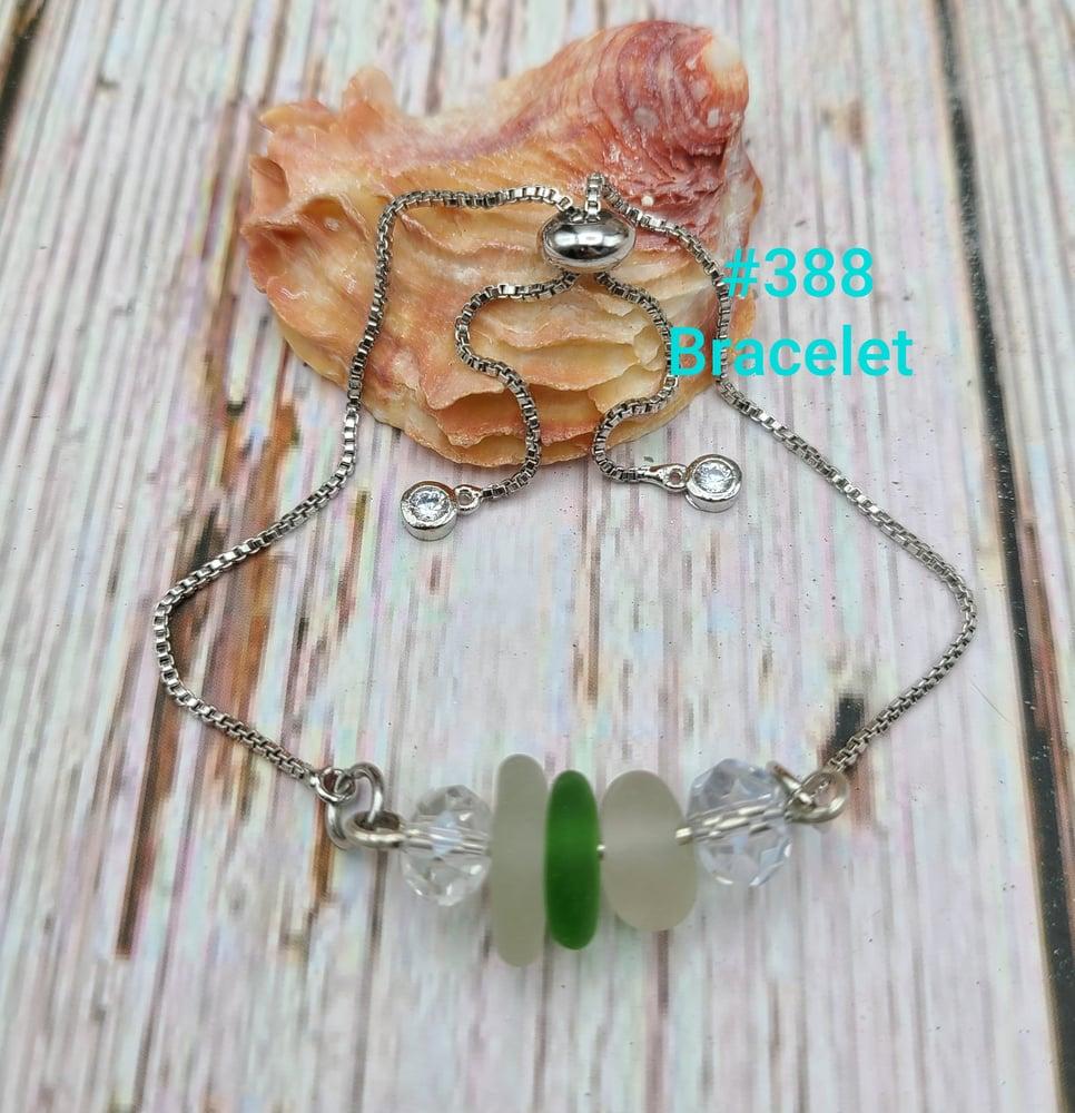 Image of Sea Glass- Crystals- Handmade- Adjustable- Bracelet- #388