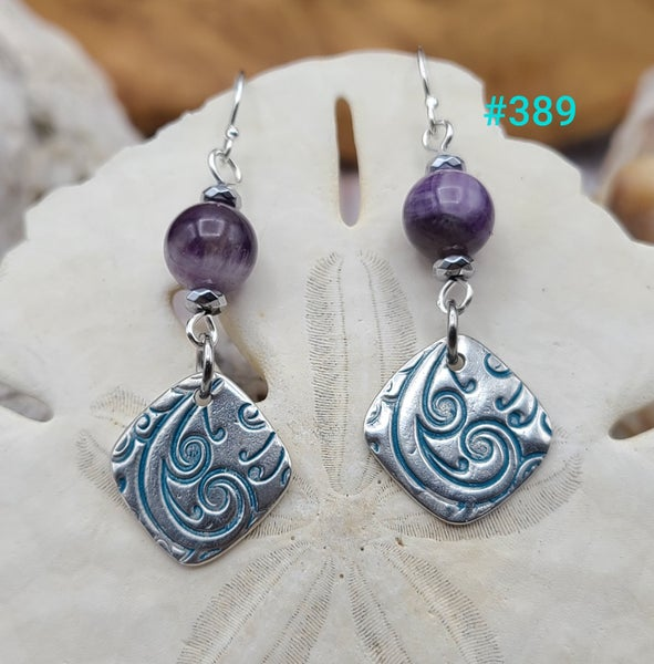 Image of Fine Silver- Recycled Silver- Handmade- Amethyst- Sterling- Earrings- #389