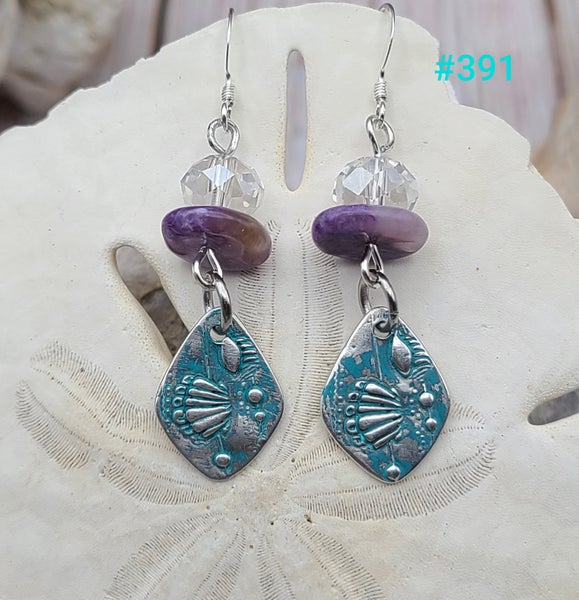 Image of Fine Silver- Recycled Silver- Earrings- Handmade- Crystals- #391
