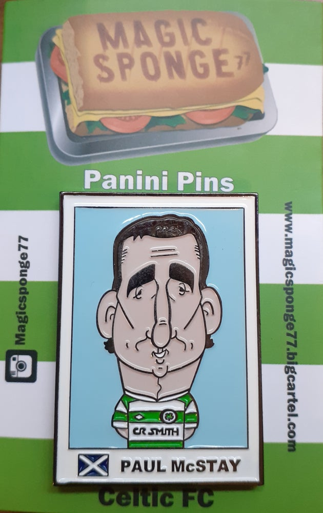 Image of Paul Mcstay caricature Panini Pin.