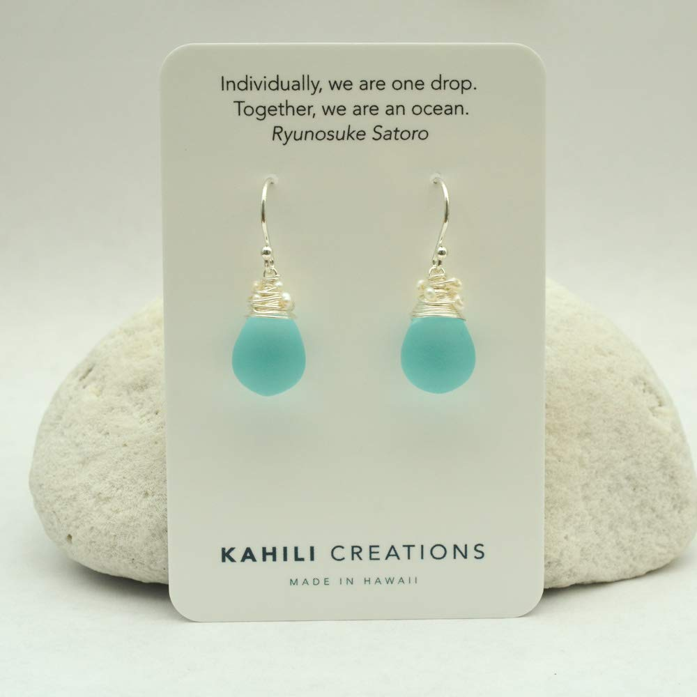 Image of Aqua Blue Earrings Frosted Glass Cultured Freshwater Seed Pearls Sterling Silver
