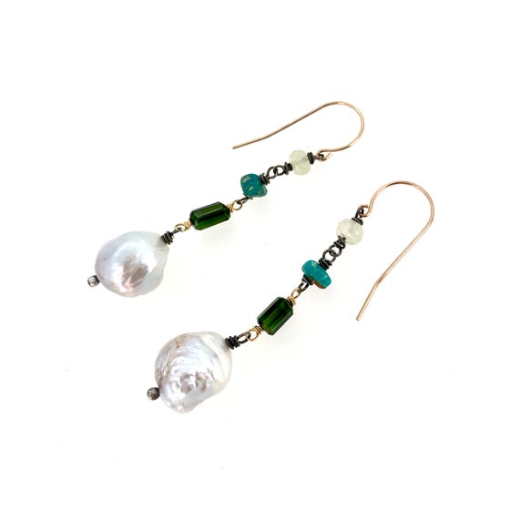 Image of large AAA baroque pearl and green tourmaline earrings