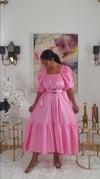 Bubble Gum Balloon Sleeve Dress